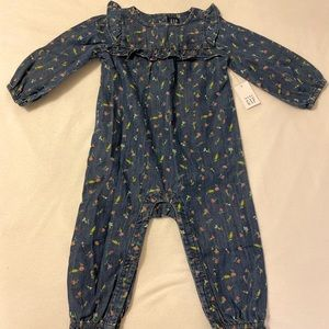Baby Gap Denim Floral Jumpsuit, NWT